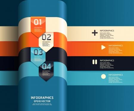 numbered: Design moderno modello pu� essere utilizzato per infografica numerati banner linee orizzontali ritaglio o il layout grafico vettoriale sito web orizzontale