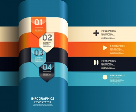 plantilla: Plantilla de diseño moderno se puede utilizar para la infografía banners líneas horizontales numeradas del recorte gráfico o diseño web vector horizontal