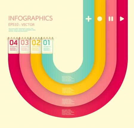 numbered: Moderno modello di design morbido di colore pu� essere utilizzato per infografica numerati banner linee orizzontali ritaglio grafiche o il layout vettore sito web