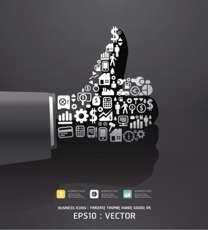 conceito: Elementos s�o pequenos �cones Finan�as fazem nos dedos boa forma ok Vector ilustra��o de cor preta