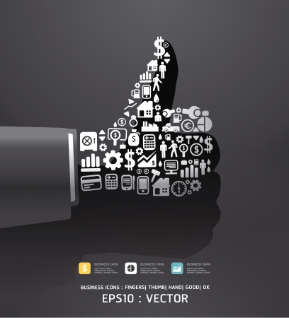 finance concept: Elements are small icons Finance make in fingers shape good  ok  Vector illustration black color