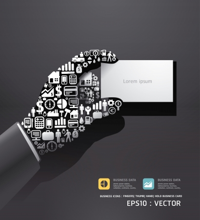 hold up: Elements are small icons Finance make in hand hold business card shape  Vector illustration