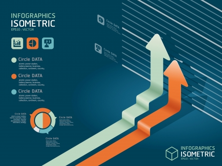growth chart: infographic isometric graph     can be used for infographics   graphic or advertise layout vector Illustration