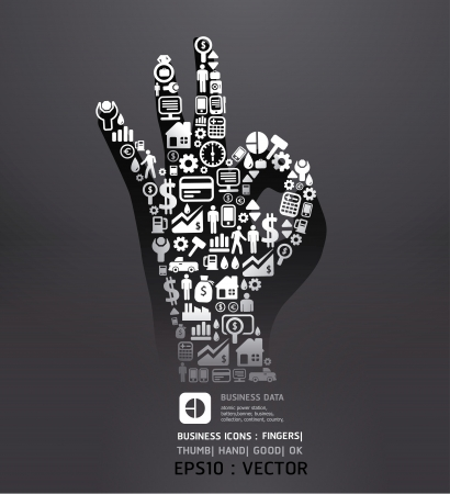 Elements are small icons Finance make in fingers shape ok  Vector illustration black color Illustration