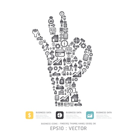 Elements are small icons Finance make in fingers shape ok  Vector illustration  Stock Vector - 15534198