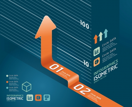 infographic orange arrow diagram chart  Detailed     can be used for infographics   graphic or advertise layout vector illustration Vector