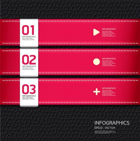 numbered: In pelle modello di colore rosa progettazione pu� essere utilizzata per infografica numerati banner linee orizzontali ritaglio o il layout grafico vettoriale sito web