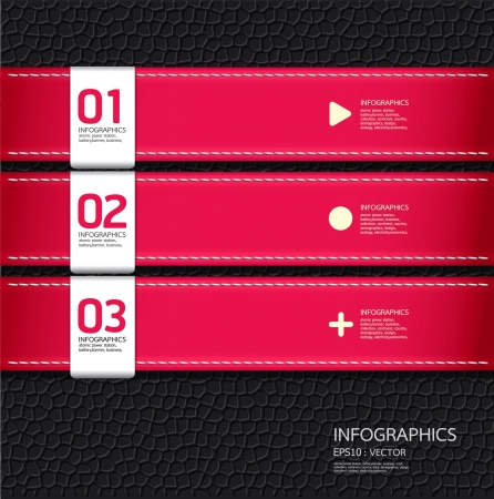 stationery items: Leather pink color Design template    can be used for infographics   numbered banners   horizontal cutout lines   graphic or website layout vector