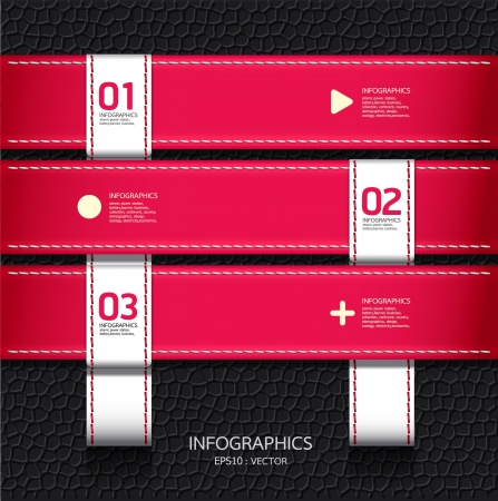 fashion item: Leather pink color Design template    can be used for infographics   numbered banners   horizontal cutout lines   graphic or website layout vector