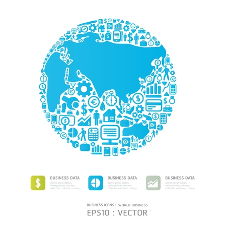 small business concept: Elements are small icons Finance make in world shape concept world business Vector illustration