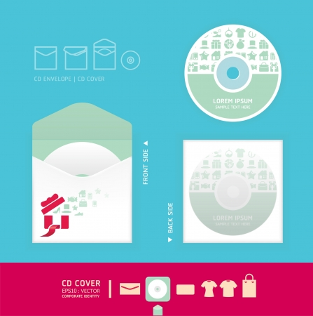 cd rom: Modern soft color cd design with icon shopping    corporate identity design for business set   vector illustration Illustration