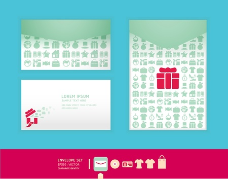Modern soft color  envelope design with icon shopping   corporate identity design for business set   vector illustration Vector