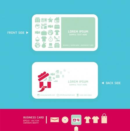 carte de visite vierge: Design moderne douce Carte couleur avec un design shopping icons identit� visuelle pour illustration vectorielle d'affaires ensemble