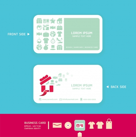 name card design: Modern soft color  Card design with shopping icons    corporate identity design for business set   vector illustration Illustration
