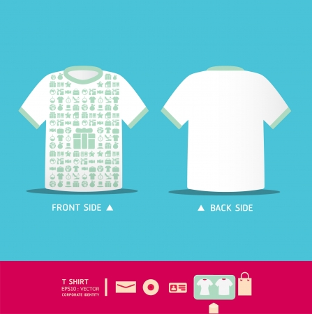Modern soft color  t-shirt design with icons shopping    corporate identity design for business set   vector illustration Vector