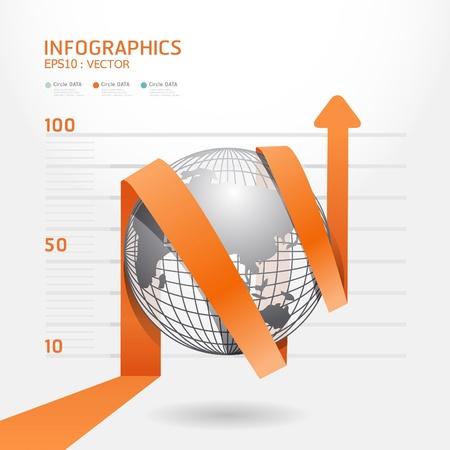 수: 자세한 인포 그래픽 화살표 다이어그램 차트는 인포 그래픽 그래픽 또는 광고 레이아웃 벡터 일러스트 레이 션에 사용할 수 있습니다