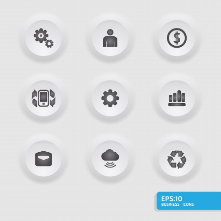 Finance and business icon set in  button frame     can be used for infographics  graphic or website button Vector