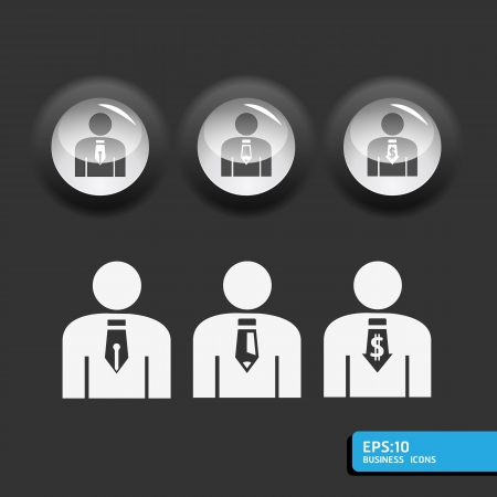 business man icon set in black color button frame     can be used for infographics  graphic or website button layout Stock Vector - 15661897