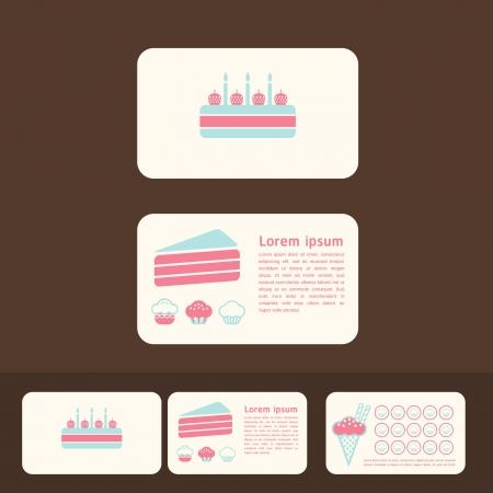 invitación a fiesta: colección de tarjetas de pasteles de negocios, descuento y tarjetas promocionales