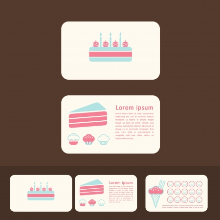 collection of cakes business cards, discount and promotional cards Vector