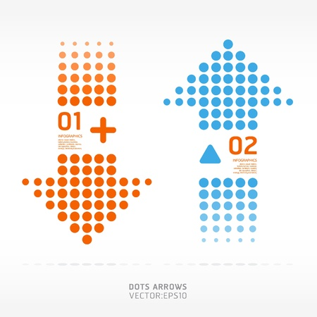 dots arrows orange and blue color   can be used for infographics   Ilustrace