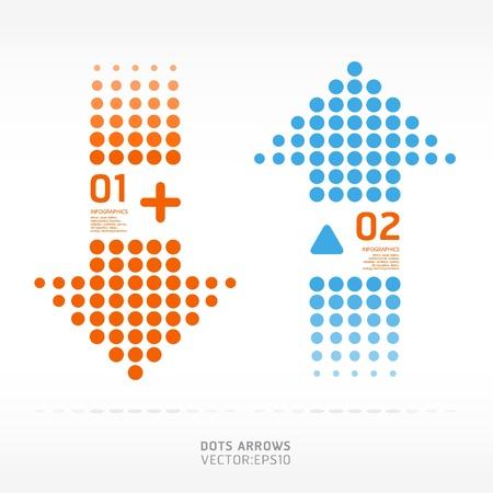 directions: dots pijlen oranje en blauw gebruikt worden voor infographics