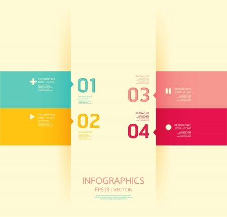 template: Modern soft color Design template   can be used for infographics   numbered banners   horizontal cutout lines   graphic or website layout
