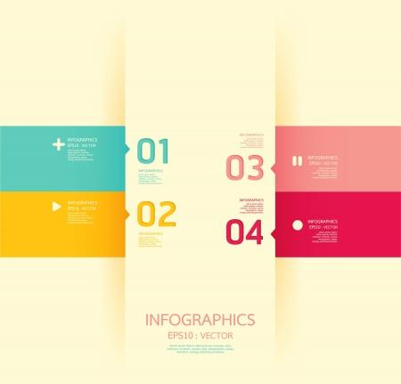 gabarit: Moderne mod�le de conception souple de couleur peut �tre utilis� pour l'infographie num�rot�s banni�res lignes de d�coupe horizontales graphiques ou site web mise en page Illustration
