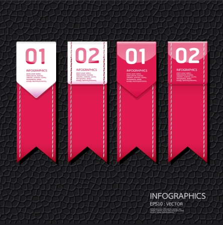 Leather pink color Design template   can be used for infographics   numbered banners   horizontal cutout lines   graphic or website layout Stock Vector - 15661896