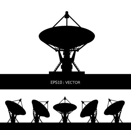 антенны: Блюдо силуэт спутниковых Иллюстрация