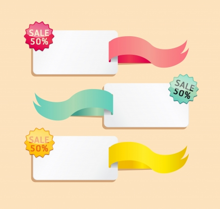 sales tag: ribbon soft color sale tag