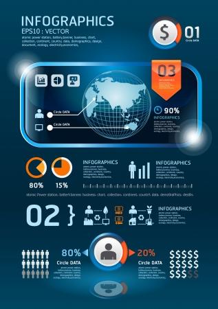infografía conjunto de gráficos y tecnología de la información Foto de archivo - 15831629