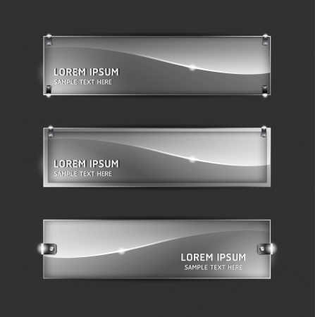 header label: Collection abstract glass banner design Horizontal