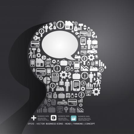 cerebro humano: Los elementos son peque�os iconos Finanzas hacen pensar en el hombre con el concepto ballon