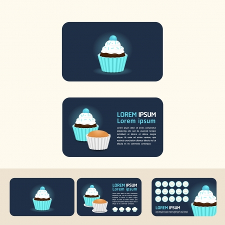 cupcake blue color concept business cards, discount and promotional cards Stock Vector - 15831661