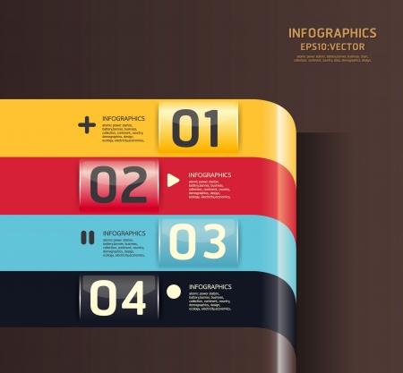 numbered: Modello di Design Moderno  pu� essere utilizzato per infografica  banner  linee numerate ritaglio orizzontale  layout grafico o al sito web Vettoriali