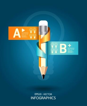 conceito: Template criativo com fita lápis banner pode ser usado para infográficos Bandeiras ilustração do conceito