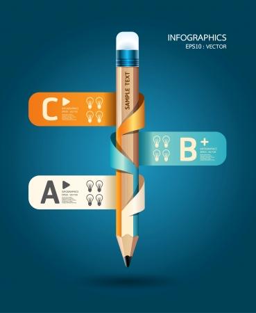 gabarit: Mod�le de cr�ation de banni�re de ruban crayon peut �tre utilis� pour l'infographie illustration concept banni�res Illustration