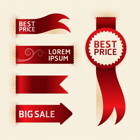 red ribbon promotion products design illustration  Illustration