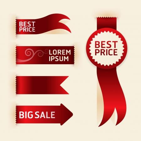 red ribbon: red ribbon promotion products design illustration  Illustration