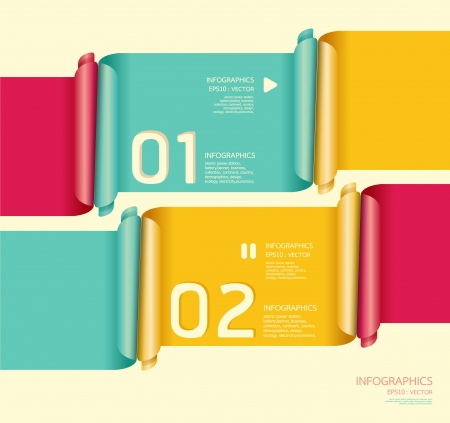 Modern soft color Design template can be used for infographics numbered banners horizontal cutout lines   graphic or website Stock Vector - 16080398