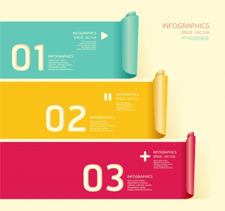 Modern soft color Design template can be used for infographics numbered banners horizontal cutout lines   graphic or website layout Illustration
