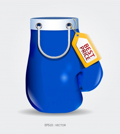 Boxing day shopping creative sale idea blue glove  isolated on white background. Vector
