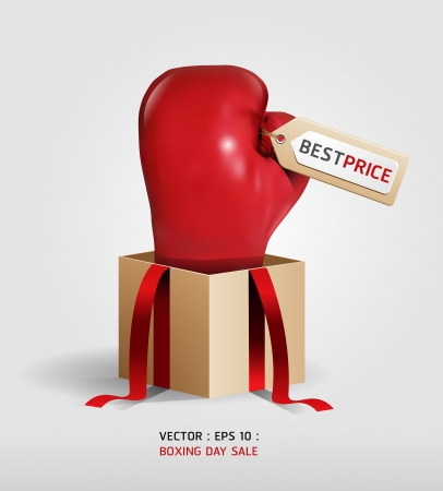 boxing glove: Boxing day shopping creative sale idea   isolated on white background.