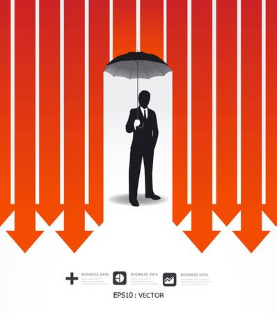 check symbol: Businessman in Umbrella creative Finance safe idea   illustration. concept Illustration