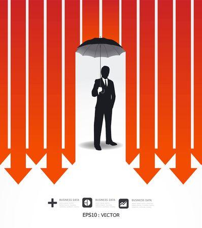 Businessman in Umbrella creative Finance safe idea   illustration. concept Stock Vector - 16749081