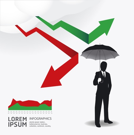 stock graph: Businessman in Umbrella creative Finance safe idea  illustration. concept