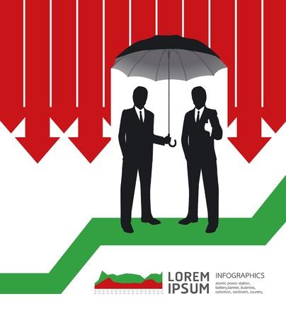umbrella: Businessman in Umbrella creative Finance safe idea   illustration. concept Illustration