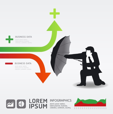 Businessman in Umbrella creative Finance safe idea   illustration. concept Vector