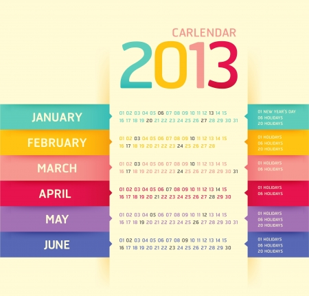 calendar 2013 modern soft color Stock Vector - 16747575